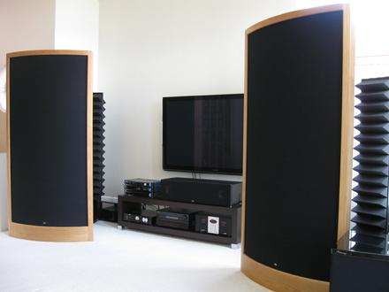Sound Lab A-1PX Speakers and SALLIE backwave absorbers